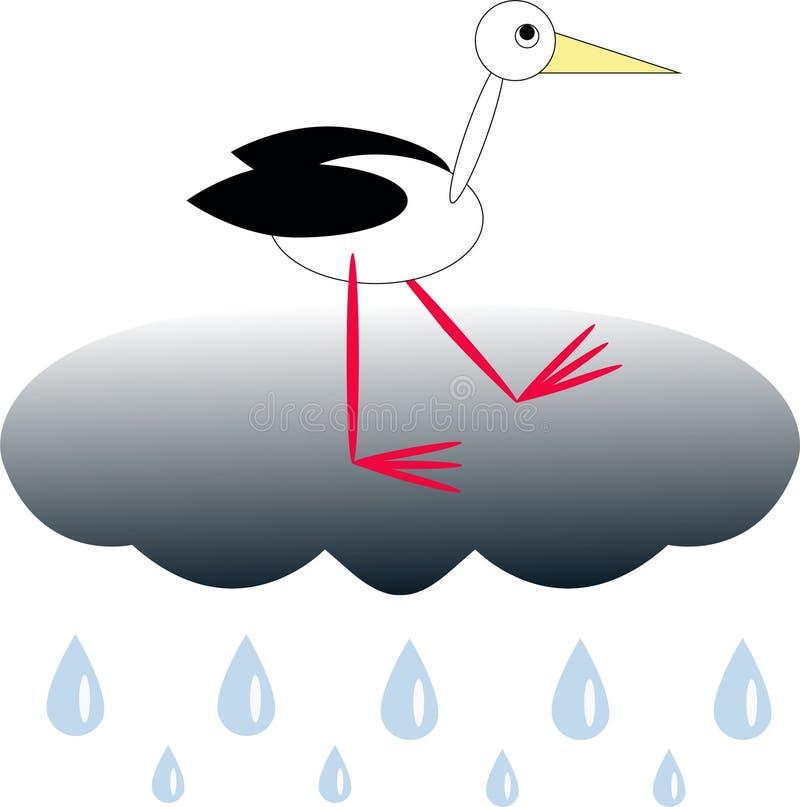 Weißer Storch auf der Wolke vektor abbildung