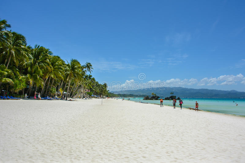 Weißer Strand auf Boracay-Insel, Philippinen lizenzfreie stockbilder