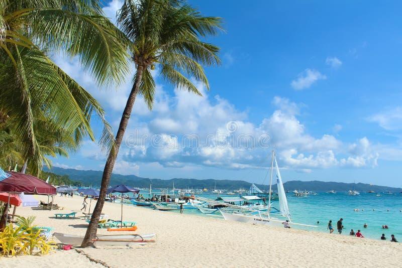 Weißer Strand Boracay, Philippinen stockbild