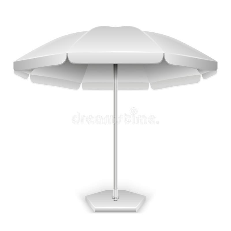 Weißer Strand im Freien, Gartenschirm, Sonnenschirm lizenzfreie abbildung