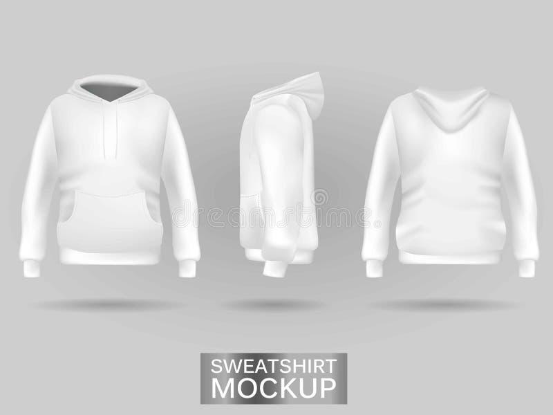 Weißer Sweatshirt Hoodie ohne Zipschablone in drei Maßen vektor abbildung