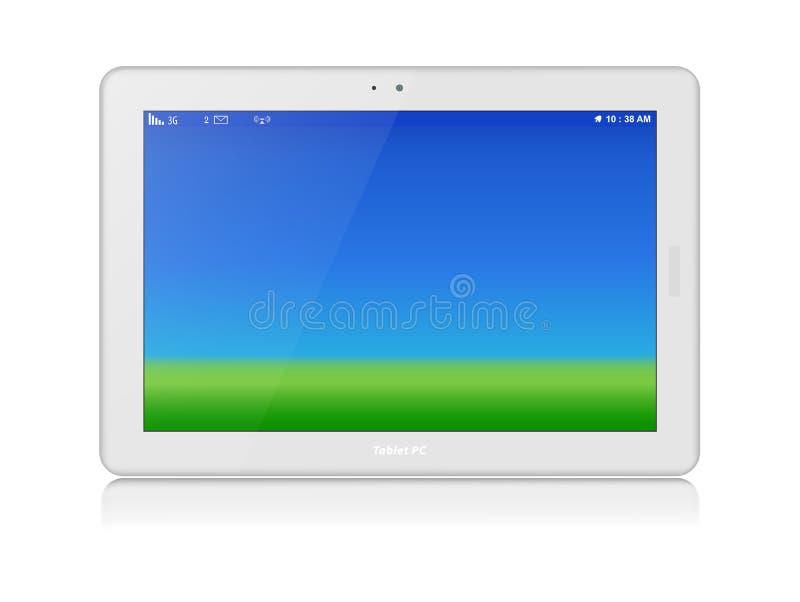Weißer Tablet-PC. Vektor. Horizontal. Kopieren Sie Raum lizenzfreie abbildung