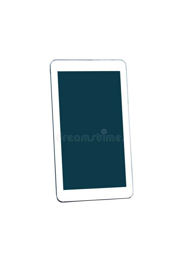 Weißer Tabletten-PC mit dem leeren Bildschirm lokalisiert auf weißem Hintergrund stockfoto