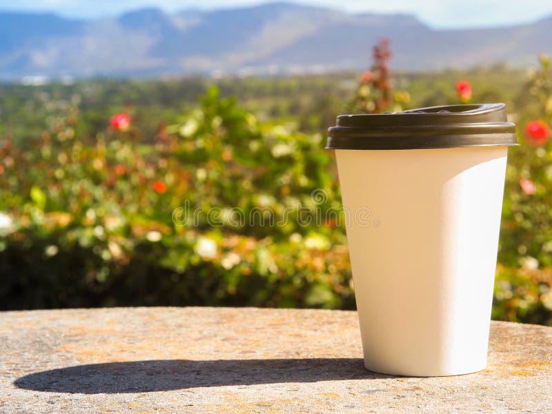 Weißer Tasse Kaffee setzte an Felsen in den Rosengarten ein stockfotos