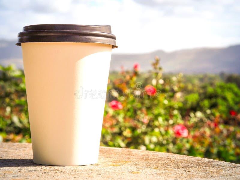 Weißer Tasse Kaffee setzte an Felsentabelle auf den Rosengarten lizenzfreie stockfotos