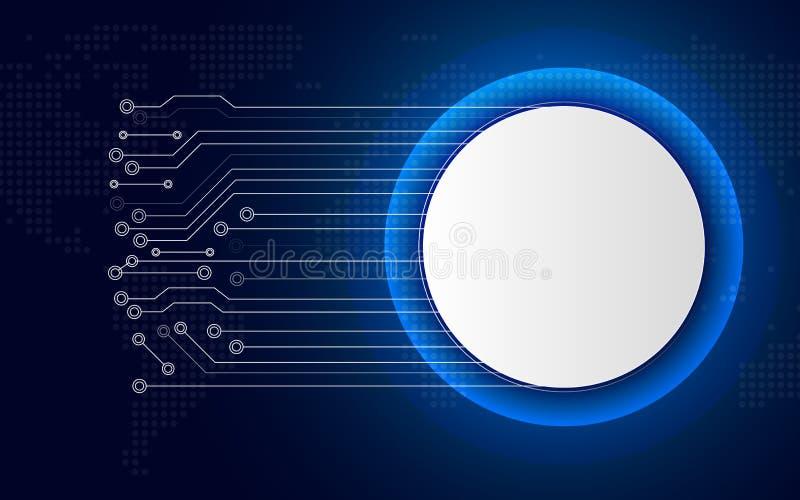 Weißer Technologiekreisknopf auf blauem abstraktem Hintergrund mit weißer Linie Leiterplatte Gesch?ft und Verbindung Futuristisch stock abbildung