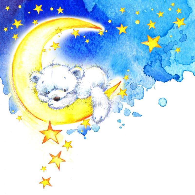 Weißer Teddybär- und Nachtsternhintergrund watercolor lizenzfreie abbildung