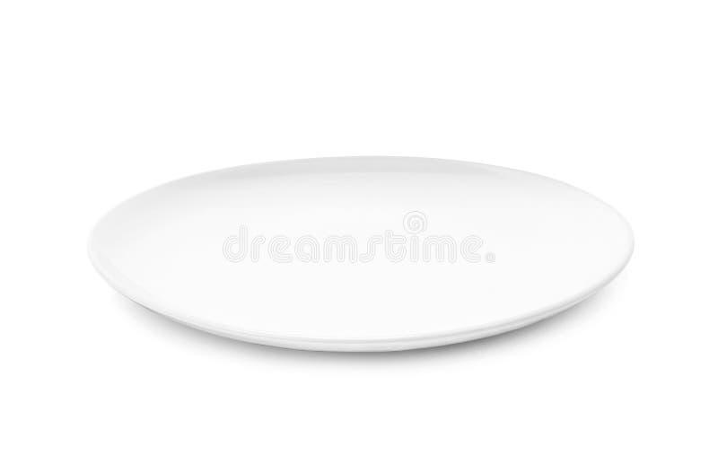 Weißer Teller oder keramische Platte lokalisiert auf weißem Hintergrund lizenzfreie stockfotografie