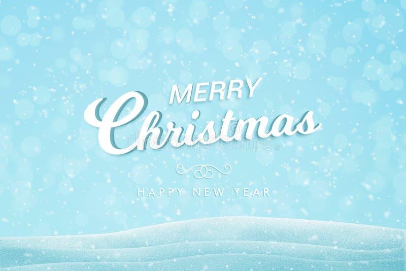 Weißer Text der frohen Weihnachten und des guten Rutsch ins Neue Jahr auf blauem Hintergrund mit Schneeflocken und bokeh vektor abbildung