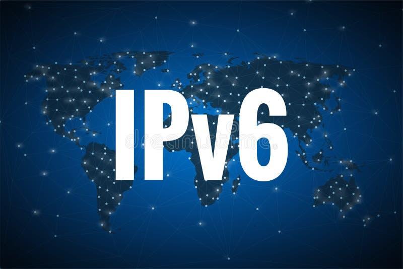Weißer Text IPv6 auf blauem Hintergrund der Weltkarte stock abbildung