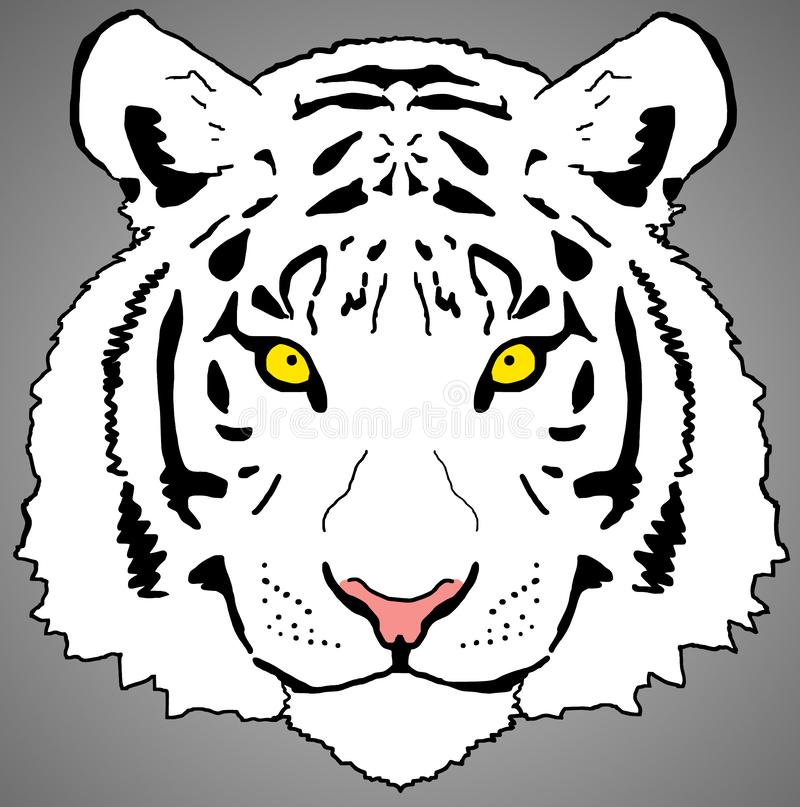 Weißer Tiger Face Digital, der png-Raster-Entwurf malt stock abbildung