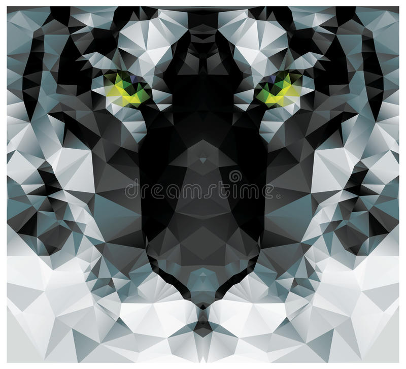 Weißer Tigerkopf des geometrischen Polygons, Dreieckmusterdesign vektor abbildung