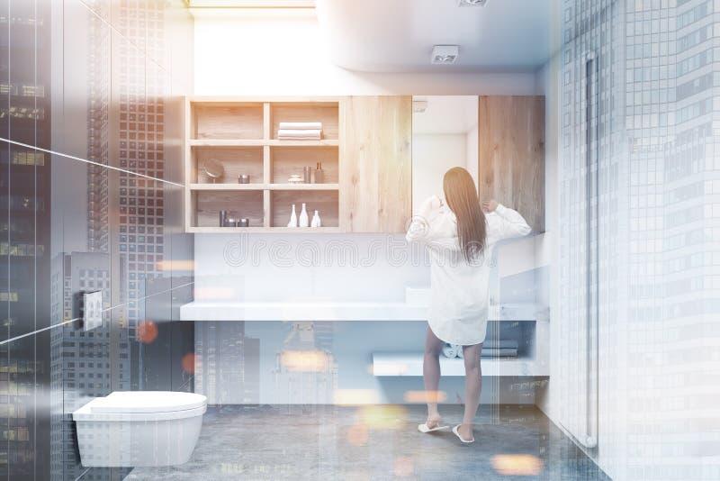 Weißer Toiletteninnenraum, Kabinette, Frau vektor abbildung