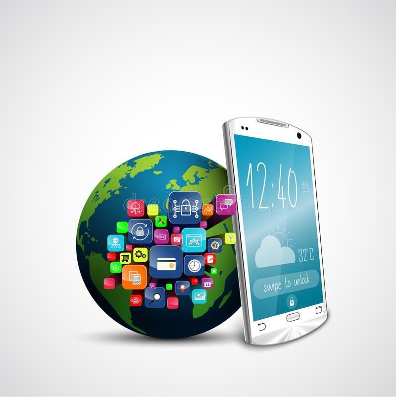 Weißer Touch Screen Smartphone mit Anwendungsikonen und grüne Erdkugel auf weißem Hintergrund lizenzfreie abbildung