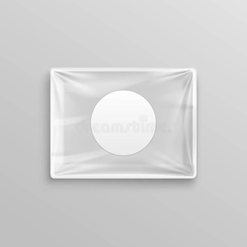 Weißer transparenter leerer Wegwerfplastiklebensmittel-Behälter für Verpackungsgestaltung vektor abbildung