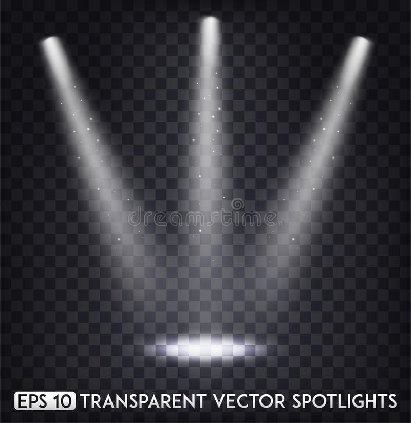 Weißer transparenter Vektor-Scheinwerferlicht-/Scheinwerfer-Effekt für Partei, Szene, Stadium, Galerie oder Feiertags-Design stock abbildung