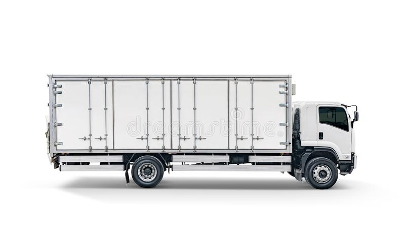 Weißer Transportfracht-LKW oder Behälterselbstpkw-anhänger stockbild