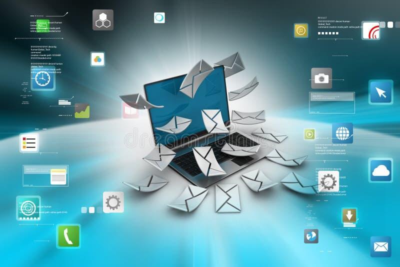 Weißer Umschlag mit @ am Symbol auf einem Blatt nach innen Moderner Laptop und Umschlag vektor abbildung