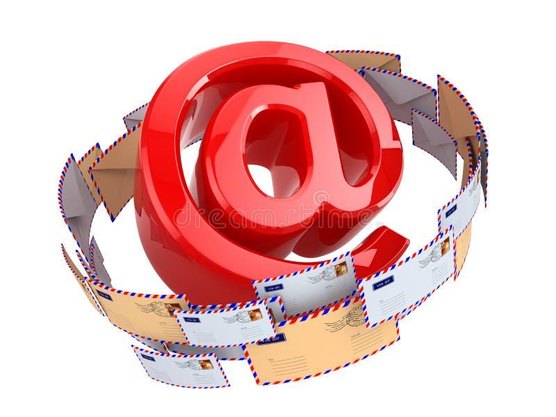 Weißer Umschlag mit @ am Symbol auf einem Blatt nach innen Am Symbol und an Umschlägen lokalisiert auf weißem backgr lizenzfreie abbildung