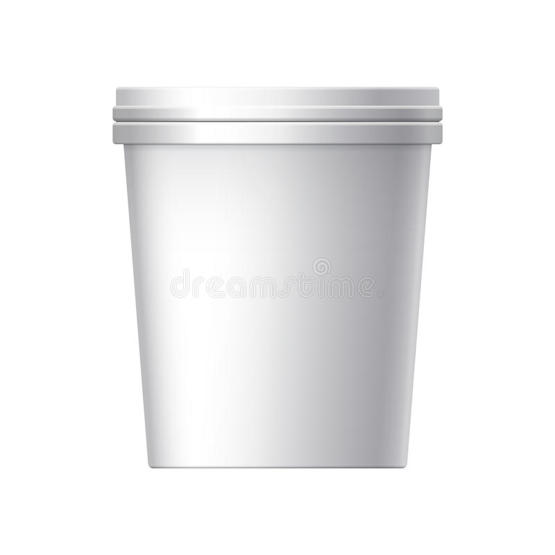 Weißer unbelegter Plastikbehälter lizenzfreie abbildung