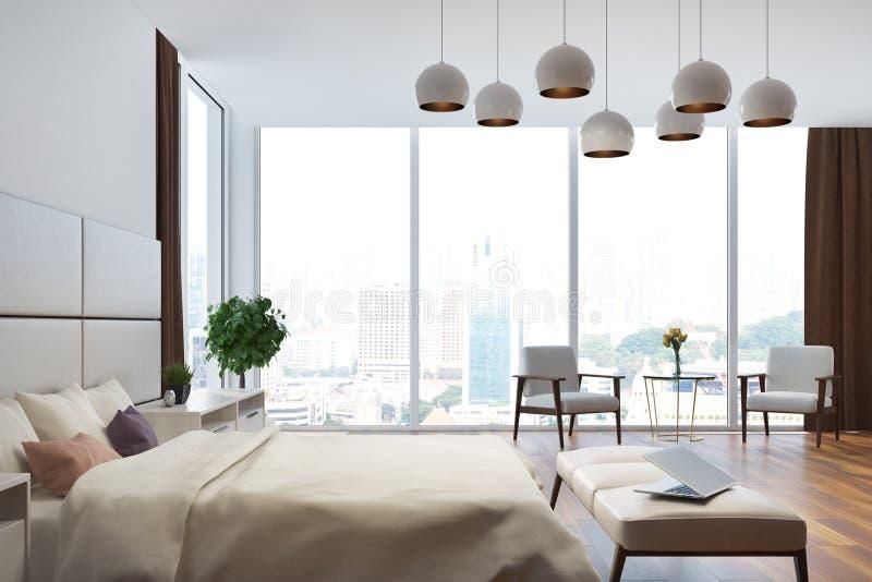 Weißer und beige Schlafzimmerabschluß herauf Seite lizenzfreie abbildung