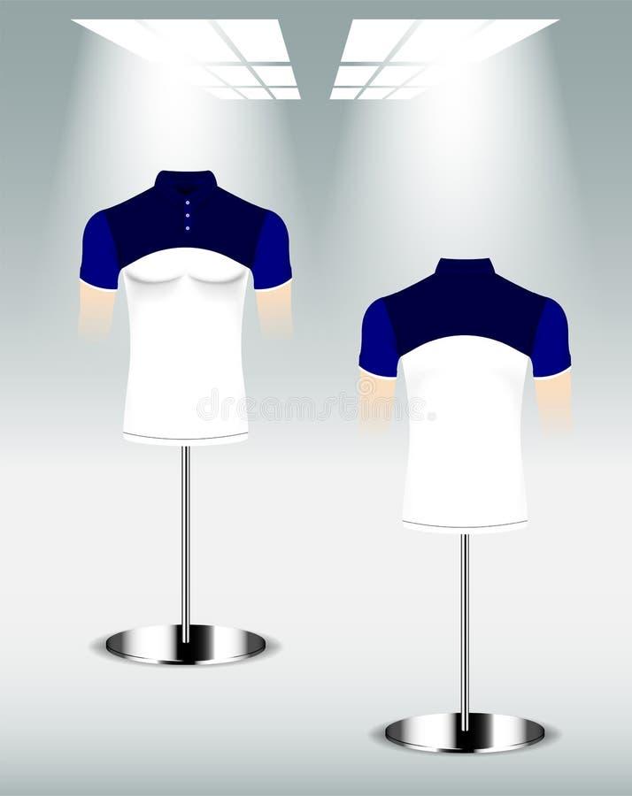 Weißer und blauer Polohemdentwurf, Rückseite und vordere Schablone lizenzfreie abbildung