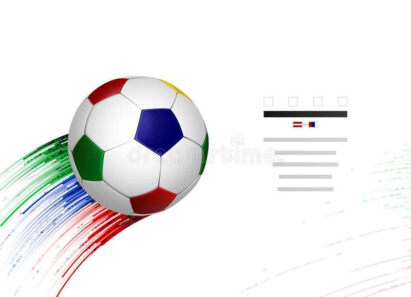 Weißer und blauer, roter, grüner Fußballfußball mit geometrischen abstrakten Sportgestaltungselementen auf dem weißen Hintergrund vektor abbildung
