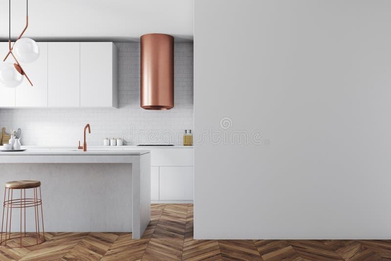 Weißer und Bronzekücheninnenraum, Wand stock abbildung