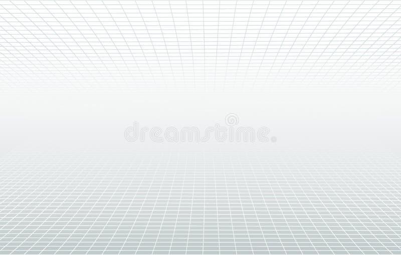 Weißer und grauer ätherischer Hintergrund des Perspektivengitters Minimales Konzept des Vektorhorizont-Designs Dekorativer Netzpl vektor abbildung