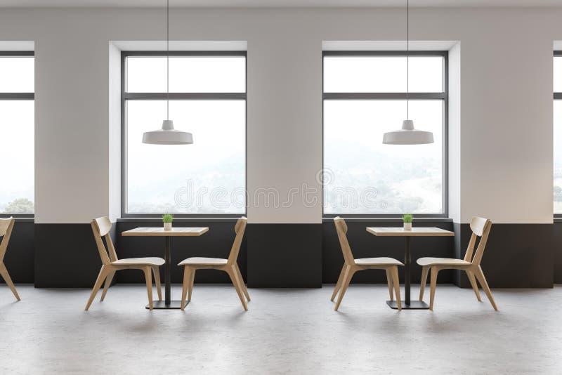 Weißer und grauer Caféinnenraum mit Bergblick lizenzfreie abbildung