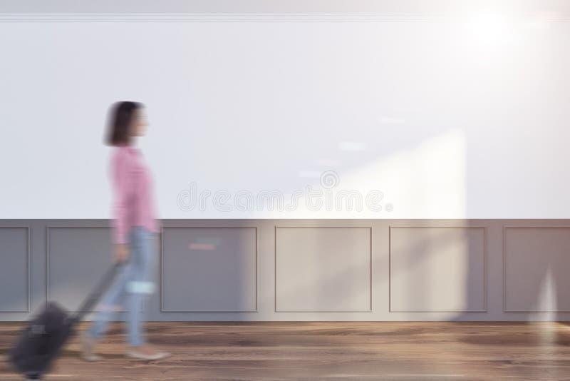 Weißer und grauer leerer Raum, verspotten herauf Wand, Frau lizenzfreie abbildung