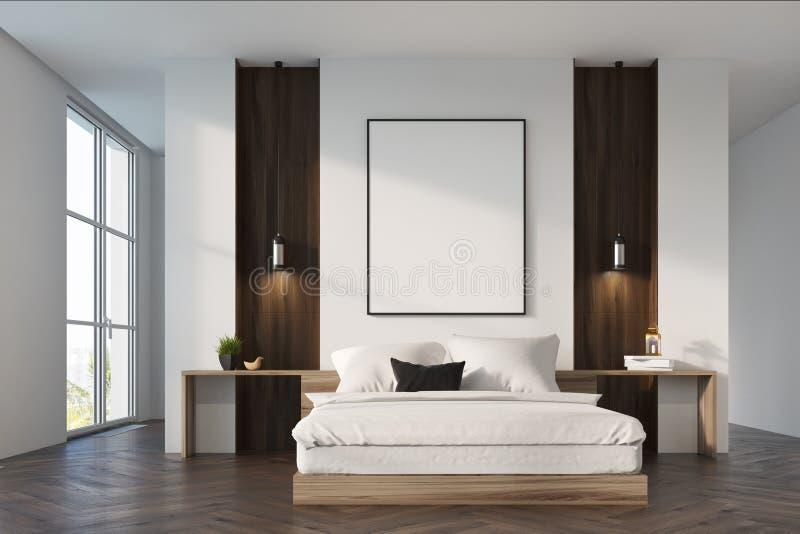 Weißer und hölzerner Schlafzimmerinnenraum stock abbildung