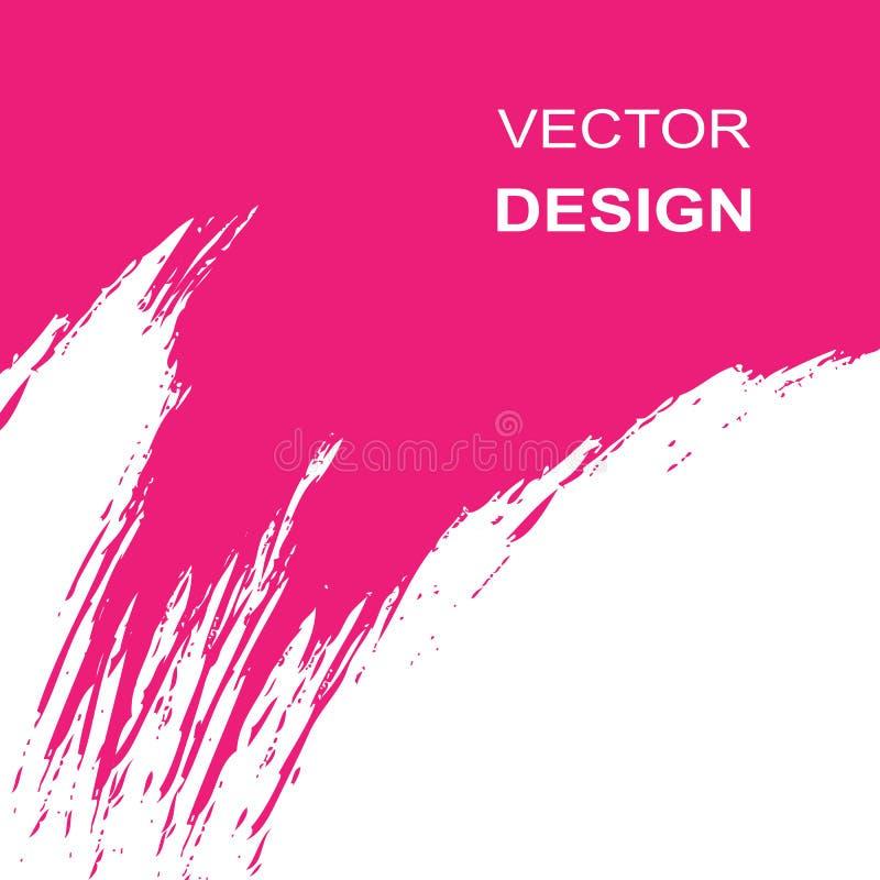 Weißer und rosa Hintergrund des Vektors Abstrich der rosa Farbe auf weißem Hintergrund lizenzfreie abbildung