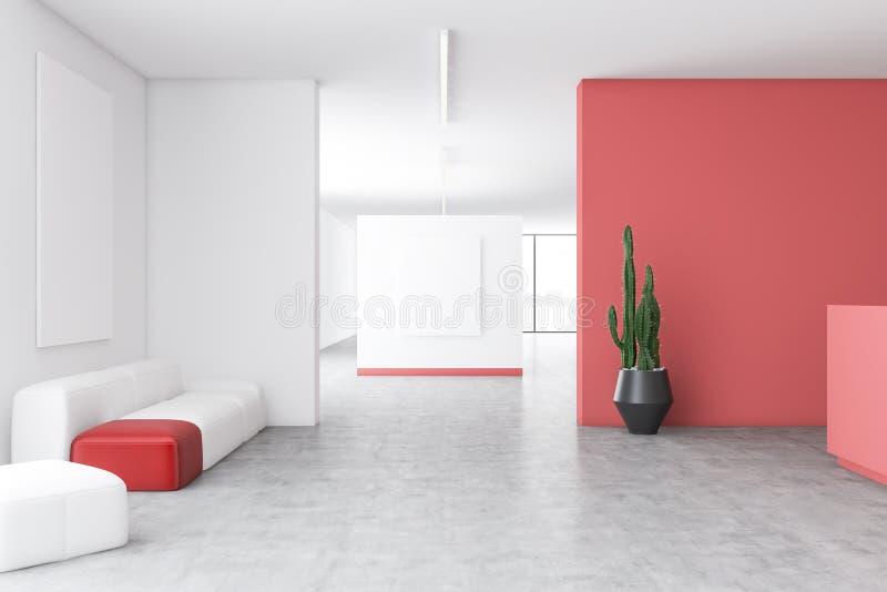 Weißer und roter Bürowarteraum mit Plakaten lizenzfreie abbildung