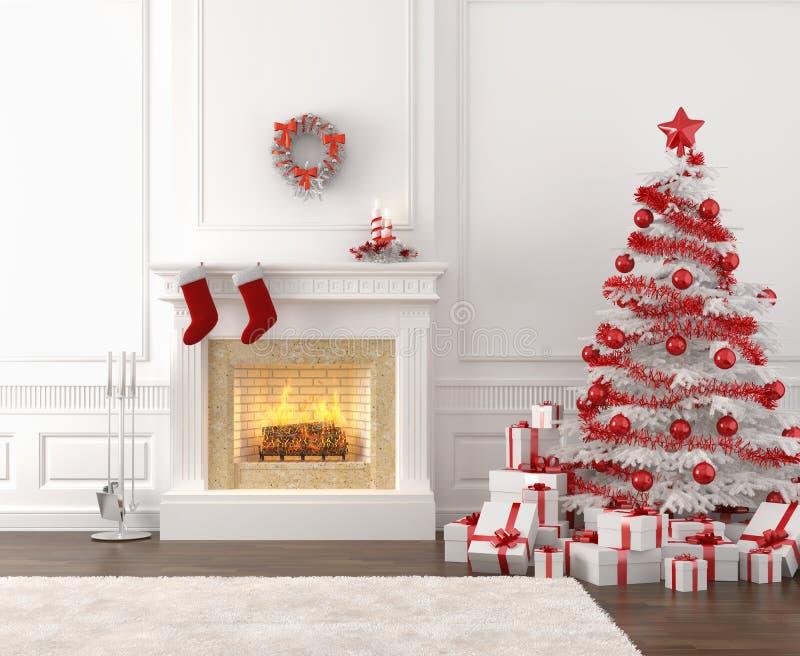 Weißer und roter Weihnachtskamin lizenzfreie abbildung