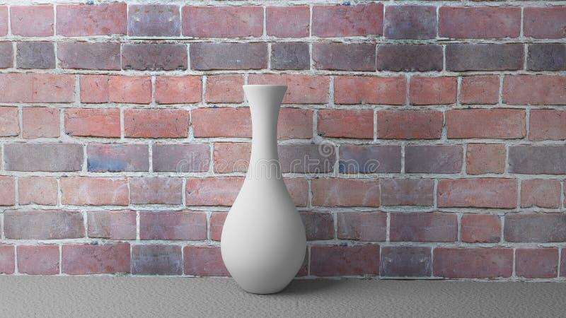 weißer Vase der Illustrations-3d auf dem Hintergrund einer Backsteinmauer vektor abbildung