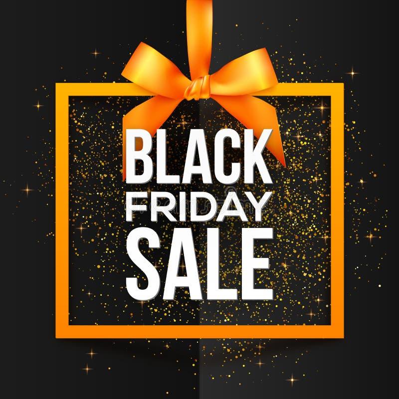 Weißer Vektor Black Friday-Verkaufs unterzeichnen herein den orange Rahmen, der am seidigen Band mit Bogen und goldenem Staub her lizenzfreie abbildung
