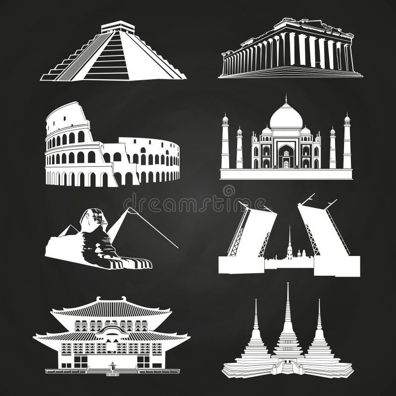 Weißer Vektor silhouettiert berühmte Marksteine lizenzfreie abbildung