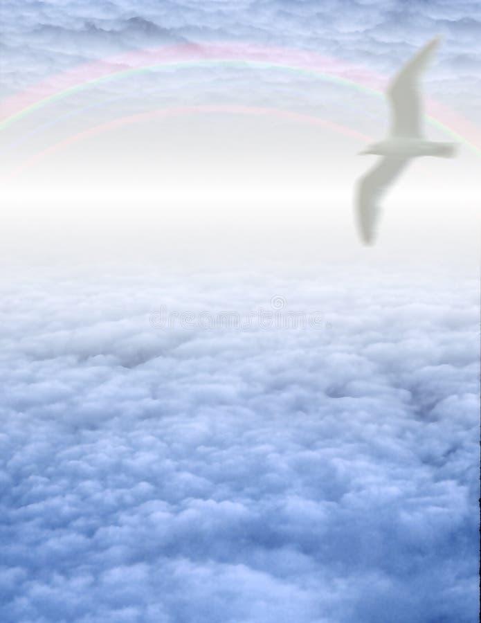Weißer Vogel in den Wolken stock abbildung