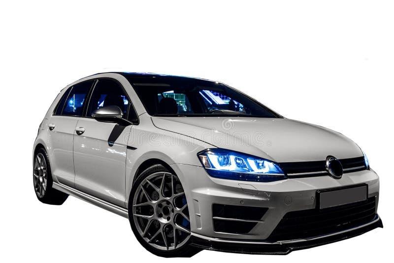 Weißer VW spielen lokalisiert auf weißem Hintergrund Golf lizenzfreie stockbilder