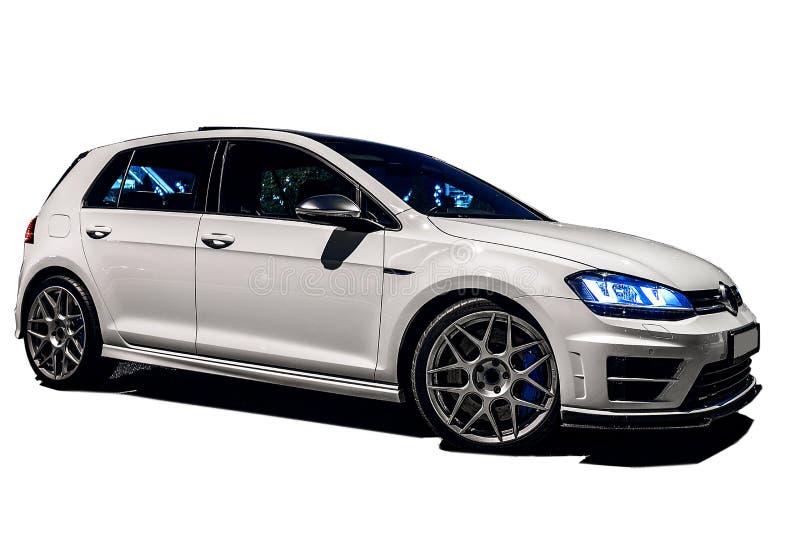 Weißer VW spielen lokalisiert auf weißem Hintergrund Golf lizenzfreies stockbild
