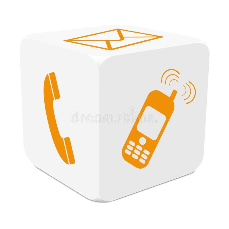 Weißer Würfel 3D mit der orangefarbenen aufzeichnenden Ikone - telefonieren Sie, E-MA vektor abbildung