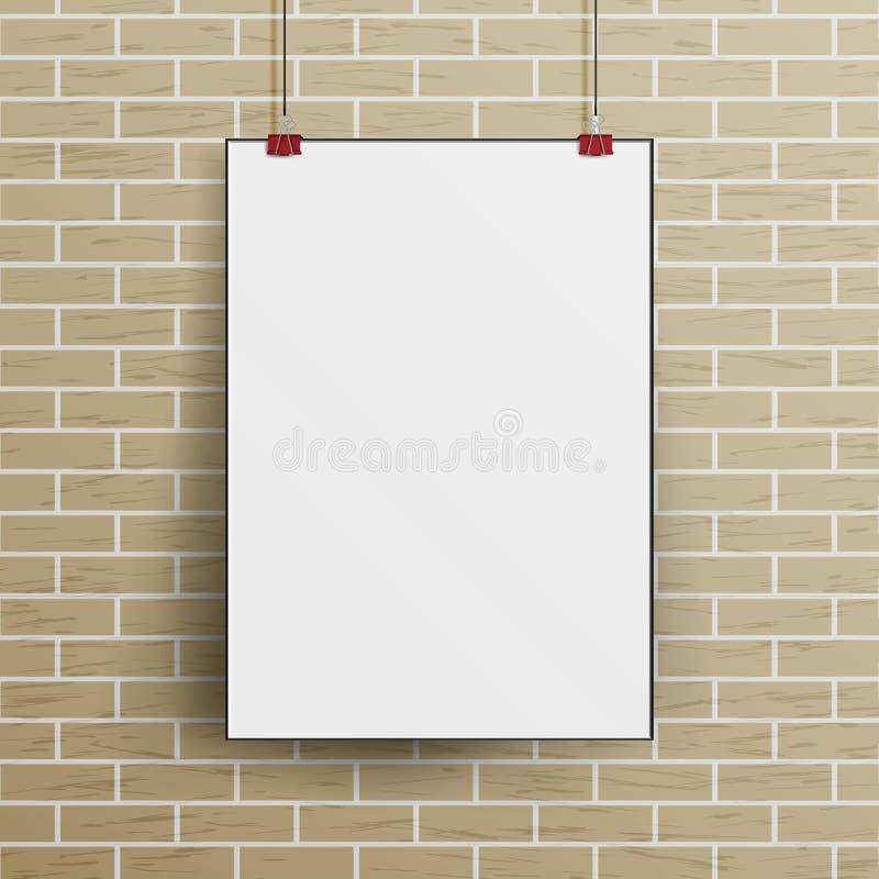 Weißer Wand-Plakat-Spott des leeren Papiers herauf Schablonen-Vektor stock abbildung