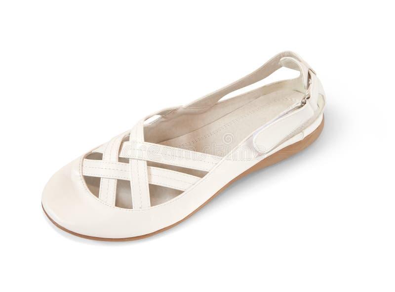 Weißer weiblicher Schuh lizenzfreies stockfoto