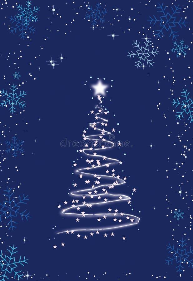 Weißer Weihnachtsbaum im Feld der Schneeflocken stockfotografie