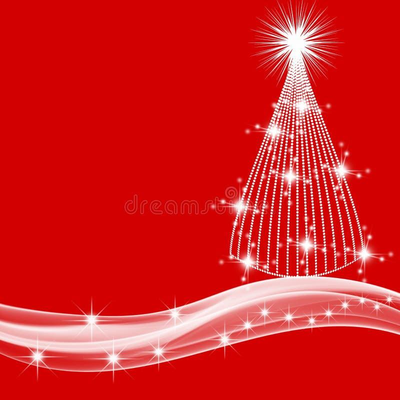 Weißer Weihnachtsbaum und Sterne auf rotem Hintergrund lizenzfreie abbildung