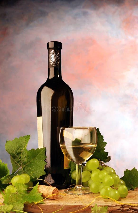 Weißer Wein mit frischen Trauben stockfotos