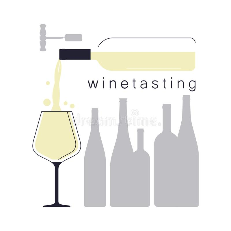 Weißer Wein Strömender Wein in einem Weinglas Schattenbilder von Flaschen Illustration für eine Weinprobe stock abbildung