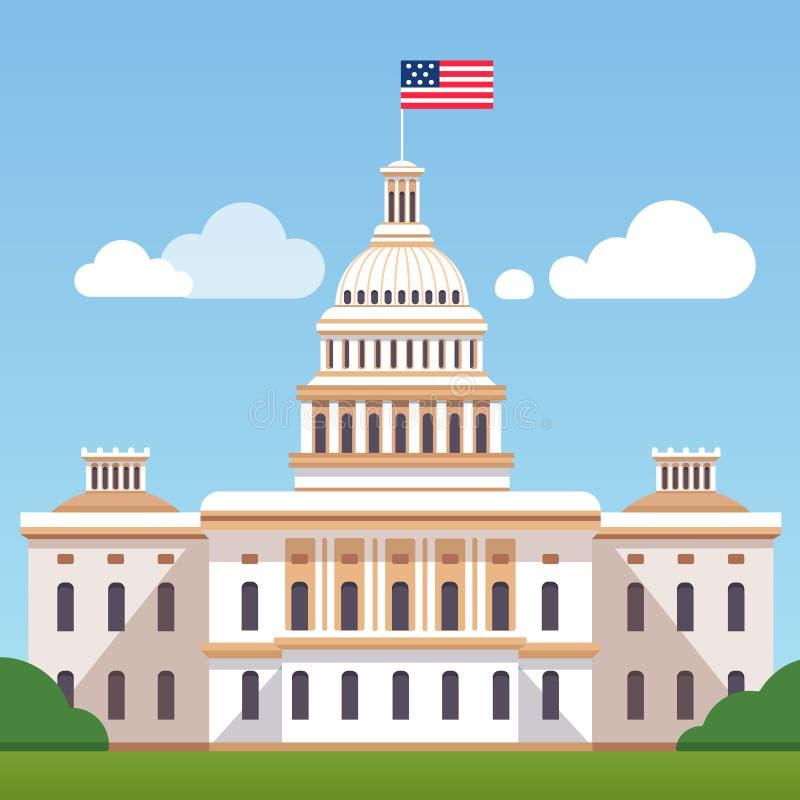 Weißer Wohnungsbau mit US-Flagge auf einem blauen Himmel lizenzfreie abbildung