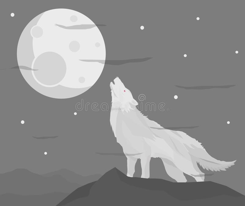 Weißer Wolf in der Nacht lizenzfreie stockfotografie